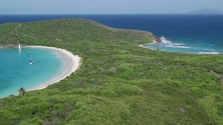 AX102_186 - 5k stock footage aerial video of Turquoise waters and white sand Caribbean beaches, Culebrita, Puerto Rico