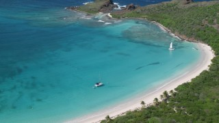 AX102_187 - 5k stock footage aerial video of Turquoise water along white sand Caribbean beaches, Culebrita, Puerto Rico