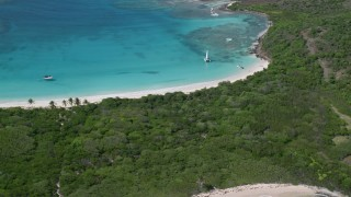 AX102_188 - 5k stock footage aerial video of Turquoise waters and white sand Caribbean beaches, Culebrita, Puerto Rico