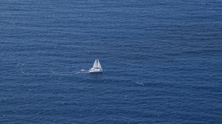 AX102_193 - 5k stock footage aerial video of a Catamaran on sapphire blue waters, Atlantic Ocean