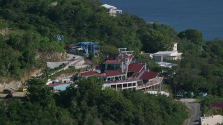 AX103_007 - 5k stock footage aerial video of Paradise Point Tramway overlooking Caribbean blue waters, Charlotte Amalie