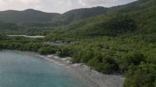 AX103_054 - 5k stock footage aerial video of a Jungle and marsh along the Great Lameshur Bay, St John