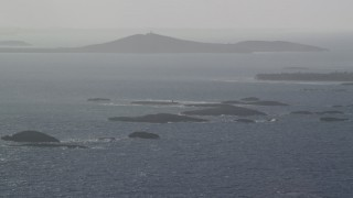 AX103_109 - 5k stock footage aerial video of Small Caribbean islands near the coast, Puerto Rico