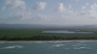 AX103_141 - 5k stock footage aerial video of a Beachside Caribbean jungle and turquoise blue waters, Loiza, Puerto Rico