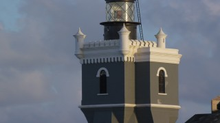 AX104_026 - 5k stock footage aerial video of Port San Juan Light atop Fort San Felipe del Morro, Old San Juan, sunset
