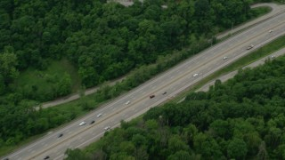 AX105_003 - 5K stock footage aerial video tilting up Penn Lincoln Parkway, Penn Hills, Pennsylvania