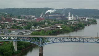 AX105_046 - 5K stock footage aerial video approaching U.S. Steel Mon Valley Works, Braddock, Pennsylvania