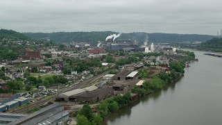 AX105_048 - 5K stock footage aerial video of U.S. Steel Mon Valley Works, Braddock, Pennsylvania