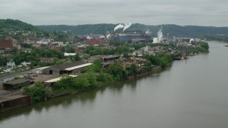 AX105_049 - 5K stock footage aerial video of U.S. Steel Mon Valley Works, Braddock, Pennsylvania