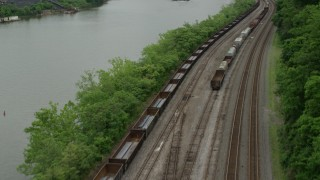 AX105_051 - 5K stock footage aerial video revealing U.S. Steel Mon Valley Works, Braddock, Pennsylvania