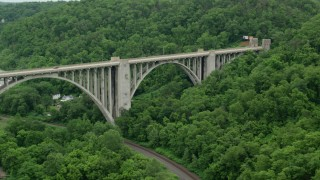 AX105_061 - 5K stock footage aerial video of George Westinghouse Bridge, East East Pittsburgh, Pennsylvania