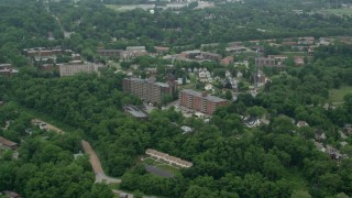 AX105_086 - 5K stock footage aerial video of brick apartment buildings and homes, Pittsburgh, Pennsylvania