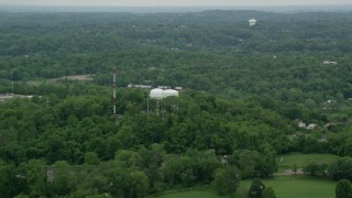 AX105_096 - 5K stock footage aerial video of radio and water towers, Penn Hills, Pennsylvania