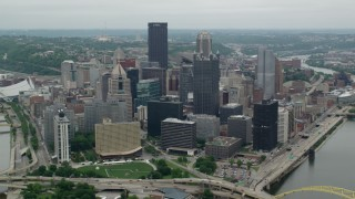 AX105_122 - 5K stock footage aerial video of skyscrapers and high-rises, Downtown Pittsburgh, Pennsylvania