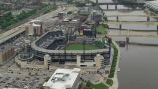 AX105_123 - 5K stock footage aerial video orbiting PNC Park Baseball Stadium, Pittsburgh, Pennsylvania