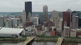 AX105_125 - 5K stock footage aerial video of skyscrapers and high-rises, Downtown Pittsburgh, Pennsylvania