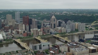 AX105_127 - 5K stock footage aerial video approaching Downtown Skyscrapers, Downtown Pittsburgh, Pennsylvania