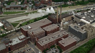 AX105_141 - 5K stock footage aerial video flying over HJ Heinz Plant, Pittsburgh, Pennsylvania