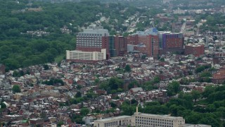 AX105_144 - 5K stock footage aerial video of Children's Hospital of Pittsburgh, Pennsylvania