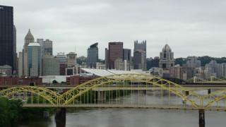 AX105_151 - 5K stock footage aerial video approaching 16th Street Bridge, Downtown Pittsburgh, Pennsylvania