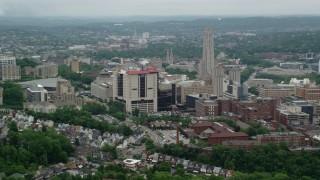 AX105_171 - 5K stock footage aerial video of University of Pittsburgh School of Medicine, Pittsburgh, Pennsylvania