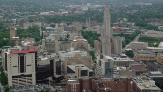 AX105_172 - 5K stock footage aerial video flying by Campus Buildings, University of Pittsburgh, Pennsylvania