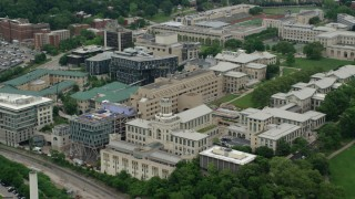 AX105_175 - 5K stock footage aerial video of Carnegie Mellon University, Pittsburgh, Pennsylvania