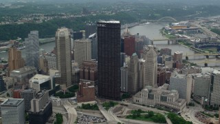 AX105_182 - 5K stock footage aerial video approaching U.S. Steel Tower, Downtown Pittsburgh, Pennsylvania