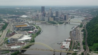 AX105_194 - 5K stock footage aerial video approaching Downtown Pittsburgh, Pennsylvania