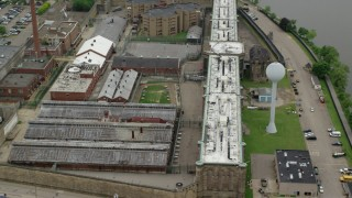 AX105_211 - 5K stock footage aerial video orbiting Western State Penitentiary, Pittsburgh, Pennsylvania