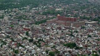 AX105_239 - 5K stock footage aerial video approaching Western Pennsylvania Hospital, Pittsburgh, Pennsylvania