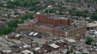 AX105_240 - 5K stock footage aerial video approaching Western Pennsylvania Hospital, Pittsburgh, Pennsylvania