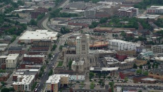 AX105_242 - 5K stock footage aerial video orbiting Cathedral of Hope, Pittsburgh, Pennsylvania