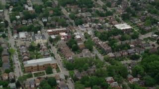 AX105_243 - 5K stock footage aerial video panning right across suburban neighborhoods, Pittsburgh, Pennsylvania