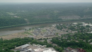 AX106_001 - 5K stock footage aerial video of riverfront homes in Oakmont, Pennsylvania