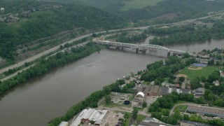 AX106_003 - 5K stock footage aerial video orbiting Oakmont Hulton Bridge in Oakmont, Pennsylvania