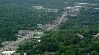 AX106_013 - 5K stock footage aerial video of shops by the Highway through Allison Park, Pennsylvania