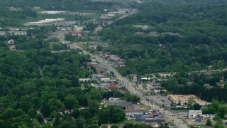 AX106_014 - 5K stock footage aerial video of shops along Pennsylvania State Route 8, Allison Park, Pennsylvania