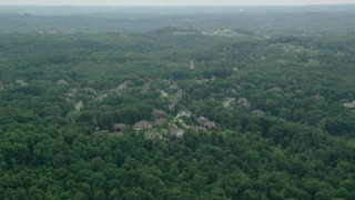 AX106_015 - 5K stock footage aerial video of upscale homes in Allison Park, Pennsylvania