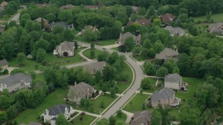 AX106_017 - 5K stock footage aerial video of an upscale neighborhood, Allison Park, Pennsylvania