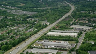 AX106_026 - 5K stock footage aerial video of light traffic on Interstate 76, Cranberry Township, Pennsylvania