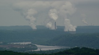AX106_037 - 5K stock footage aerial video of Beaver Valley Power Station, Hookstown, Pennsylvania