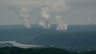AX106_038 - 5K stock footage aerial video of Beaver Valley Power Station, Hookstown, Pennsylvania