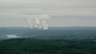 AX106_039 - 5K stock footage aerial video of Beaver Valley Power Station, Hookstown, Pennsylvania