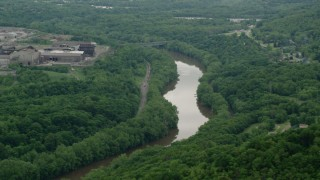 AX106_046 - 5K stock footage aerial video of Beaver River in Koppel, Pennsylvania