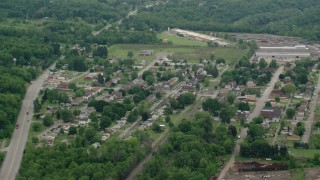 AX106_048 - 5K stock footage aerial video orbiting the small town of Koppel, Pennsylvania