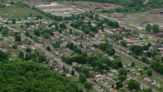 AX106_049 - 5K stock footage aerial video orbiting the small town of Koppel, Pennsylvania