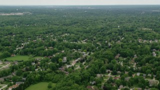 AX106_066 - 5K stock footage aerial video of residential suburbs, Youngstown, Ohio