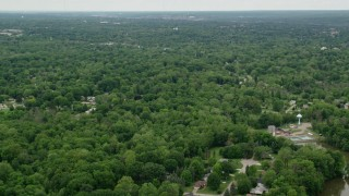 AX106_068 - 5K stock footage aerial video of suburban neighborhoods, Youngstown, Ohio