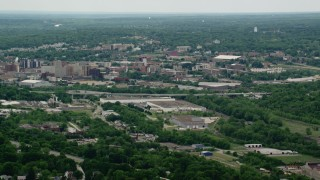 AX106_073 - 5K stock footage aerial video of Downtown Youngstown, Ohio